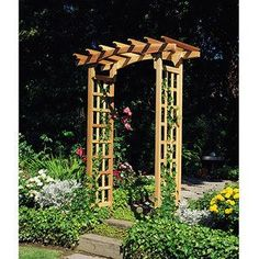 My husband built one of these for me that is very similar in style, except it's big enough for a single seat bench and there's space for hanging flower baskets along the outside edge.