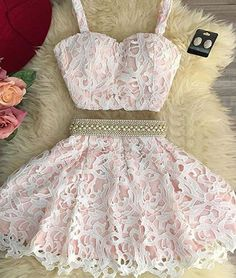 homecoming dresses,cute pink two pieces lace short prom dress, pink homecoming dress