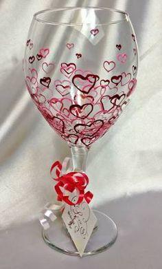 valentine wine glasses - Google Search