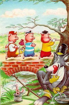 The Three Little Pigs storybook for kids. Once upon a time there were three little pigs and the time came for them to leave home and seek their fortunes. Three Little Pigs Story, Ladybird Books, This Little Piggy, Bad Wolf, Children's Book Illustration, Cartoon Illustrations, Stories For Kids, Nursery Rhymes, Cartoon Characters