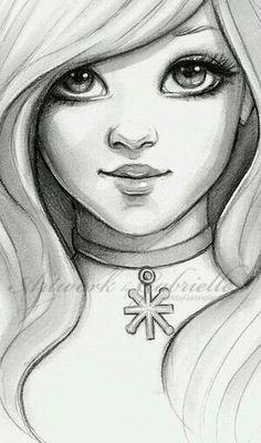 Desenho lindo de uma menina kawaii