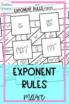 This exponent rules maze asks students to simplify expressions using the rules of exponents. Rules include product rule, quotient rule, power rule, zero exponent rule, and negative exponent rule. Answer key included! High School Algebra, Algebra 1, Teaching Tools, Teacher Resources, Simplifying Expressions, Fun Math Activities, School Grades, Maze, Zero