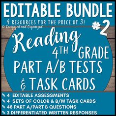 BUNDLE 2: READING PART A/PART B TESTS AND TASK CARDS Test-taking is a genre in itself. For students to become comfortable with reading on-level passages and answering rigorous comprehension questions, they need lots of practice. The task cards in this bundle are usually used as some form of test prep while the assessments usually take the form of actual assessments or
