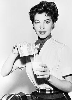 Ava Gardner has a glass of milk, mid-1950s
