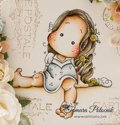 August Challenge ❀ I am roses Magnolia Colors, August Challenge, Collages, Magnolia Stamps, Marker Art, Digi Stamps, Cartoon Kids, Hello Kitty, Magnolias