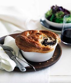 Australian Gourmet Traveller recipe for rabbit and wild mushroom pies by Chapter One Brasserie in Subiaco.