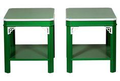VINTAGE Lane Green Fretwork Side Tables, Pair (=)