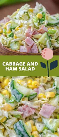 Made with fresh cabbage, cucumbers, ham, corn, and scallions, this tasty and crunchy Cabbage and Ham Salad is packed with vitamins and makes a quick lunch or side dish. FOLLOW Cooktoria for more deliciousness! If you try my recipes - share photos with me, I ALWAYS check!