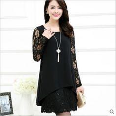 76e0b58f40a 2016 new spring women dress chiffon female dress Korean Style lace stitching  hollow out women dress