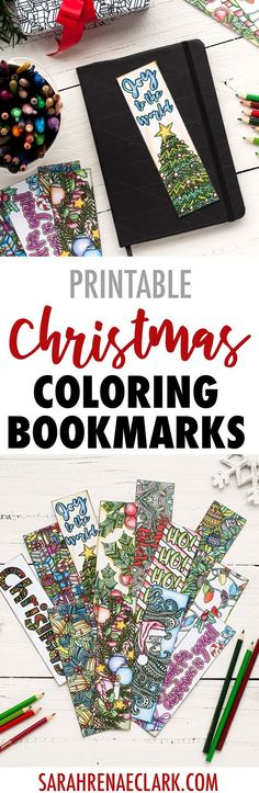 DIY Christmas bookmarks – 12 printable coloring bookmark templates | Find more Christmas printable activities and coloring pages at www.sarahrenaeclark.com/christmas Christmas Printable Activities, Printable Crafts, Family Activities, Free Printables, Printable Designs, Free Coloring Pages, Printable Coloring, Coloring Books, Adult Coloring