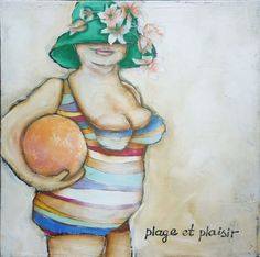 lady with striped swimsuit with ball and door PietraPietDesigns