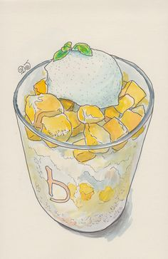 Ice with mango and ice cream.  Ink and watercolor.