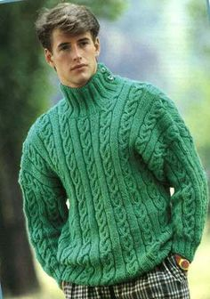 Men's Knitted Jumper Pattern PDF This Jumper is made up in green wool with a ribbed high neck, two buttons of side to fasten. Stocking stitch and cable stitch form overall pattern on Jumper. Jumper Knitting Pattern, Jumper Patterns, Knitting Patterns, Knitting Yarn, 1990s Fashion Trends, 80s Fashion Men, Fashion Vintage, Fashion Stores, Womens Fashion
