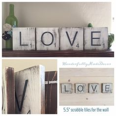 Large Scrabble Tiles for the wall . Home Decor . Scrabble . Rustic Home Decor . Wood Signs