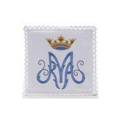 Linge d'autel symbole Marial bleu 100% lin | vente en ligne sur HOLYART