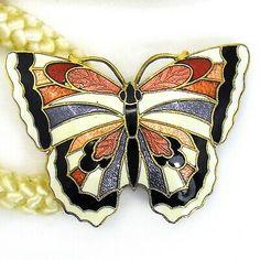 Vintage Boho Cloisonne Butterfly Belt 1970s 1980s Cream Stretch Cord  | eBay