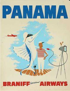 Panama - Braniff Airways vintage travel poster  fisherman w/ sailfish