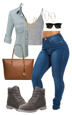 featuring Glamorous, Timberland, MICHAEL Michael Kors, Sterling Essentials, Michael Kors and Ray-Ban Big Girl Fashion, Teen Fashion Outfits, Dope Outfits, Cute Fashion, Outfits For Teens, Trendy Outfits, College Outfits, Timberland Outfits, Timberland Style