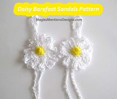 Barefoot Sandals Daisy Flower Crochet Pattern with Instant Download by MagiesMentions $2.25