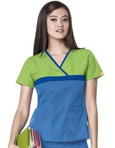 Buy Wink Scrubs Women's Tri-Charlie Mock Wrap block Y-Neck Scrub Top for $14.45