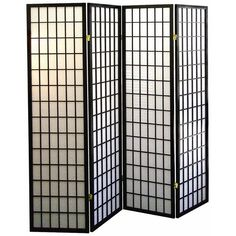 Tomball Japanese-Inspired Black 4-Panel Room Divider ($166) ❤ liked on Polyvore featuring home, home decor, panel screens, fillers, furniture, interior, cabinets and storage, japanese home decor, black home decor and japanese room dividers