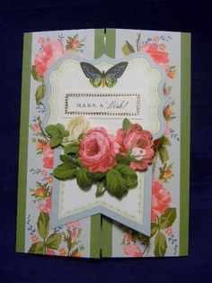 Birthday Card Shabby Card Card with Flowers by MyPrettyPaperGifts