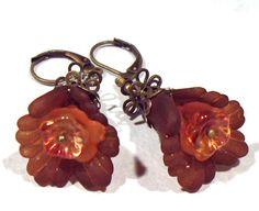 Jewelry EarringsOrange Brown Tangerine Lucite Flower Czech Glass Antique Brass  FREE SHIPPING. $6.95, via Etsy.