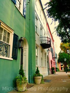 There can never be enough photographs of beautiful rainbow row!  Rainbow Row Charleston South Carolina by Michelle Meno Photography @Etsy