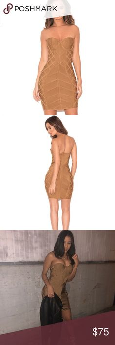 Light tan strapless bandage dress Naenia' with her gorgeous neutral tones and bustier shape top, 'Naenia' is your perfect transitional piece. Glide into Fall in this gorgeous dress. We love how it sits at the bust and flatter the waist by nipping it in. Made from stretch bandage fabric.    Dress Length: Approx 65cm Materials: Bandage(90% Rayon, 9% Nylon, 1% Elastane) Stretch Type: Very Stretchy Gentle Dry Clean Only   Model is 5 ft 7 and wears size XS    Item runs true to size house of cb…