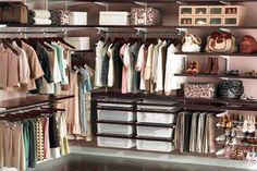 Elfa closet system, The Container Store. I love you Elfa! Walking Closet, Closet Storage, Closet Organization, Closet Shelves, Kitchen Shelves, Elfa Closet System, How To Organize Your Closet, Closet Remodel, Master Bedroom Closet