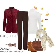"""Balsamic velveteen jacket, Espresso pant, Basic ivory top - Etcetera Fall Collection"" by biseletcetera on Polyvore"