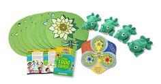 Lilypad Landing, Musical Lily Pads, and Pad Hop and Go, are three of the ten frog-themed games packed in this box. these games will improve hand-eye coordination and balance using 4 beanbag frogs, 9 colorful lilypads and a spinner.