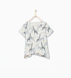Image 2 of Giraffe print t-shirt from Zara