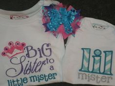 Sibling Shirt Set Big Sister to a Little by theroyalprincess, $57.00