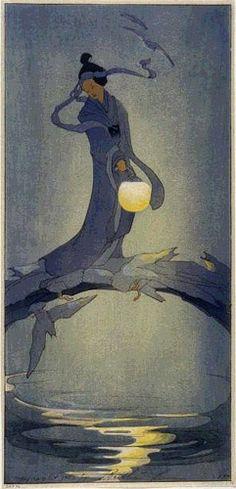 Tanabata by Bertha Lum 1912 - Japanese woman carrying lantern across bridge/color woodcut Art And Illustration, Japanese Prints, Japanese Art, Geisha, Art Chinois, Art Asiatique, Art Japonais, Inspiration Art, Japanese Painting