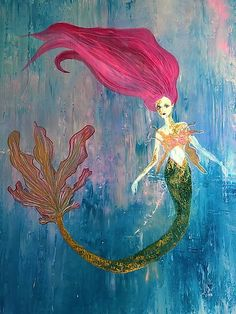 This is an original acrylic painting of a mermaid on canvas that I made. I love crocheting sea creatures so I wanted to be able to bring that idea over to canvas for anyone who loves all things nautical and whimsical. Gifts For Art Lovers, Lovers Art, Beautiful Artwork, Cool Artwork, Beautiful Things, Best Gifts For Her, Nature Paintings, Mermaids, Illustration Art