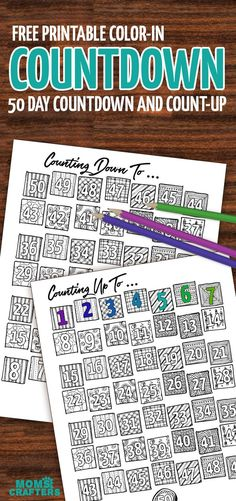 Color in the days as they pass - this free printable countdown calendar and progress tracker are so much fun - when it's colored in the big day is here! Use it to track progress (count up) - days sugar-free, diet calendar, or even to count the Omer (sefir