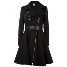 Belted woollen coat by Moschino, with a biker style collar and two way diagonal zip fastening. The coat has a flared skirt from the waist band, where there are belt loops and removable buckle belt. The coat has one press studded breast pocket, two side pockets, and is partly lined.