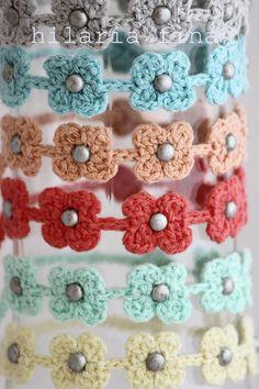 hf Crochet Bracelet Summer Tiny Flower ❥ 4U // hf