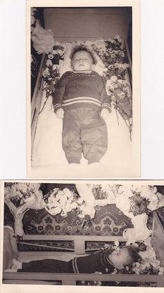 Two Vintage Post-Mortem Photographs Of Little Boy - Memento Mori - Mourning
