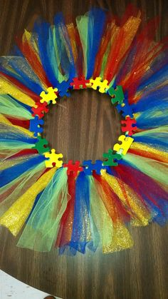 Autism awareness tulle wreath by Maximussive on Etsy, $35.00