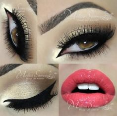 ❤️ Dramatic eye shadow with pink lipstick