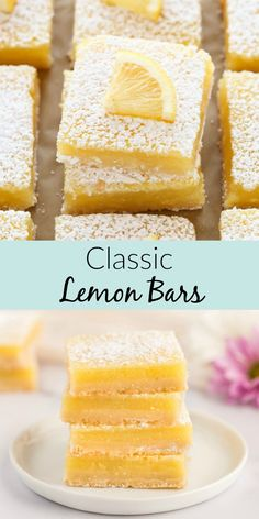 Classic Lemon Bars - Live Well Bake Often These Classic Lemon Bars feature an easy homemade shortbread crust with a sweet and tangy lemon filling. This is the BEST lemon bar recipe, easy to make, and perfect for lemon lovers! Lemon Dessert Recipes, Köstliche Desserts, Lemon Recipes, Baking Recipes, Cake Recipes, Recipes For Lemons, Sweets Recipe, Easter Recipes, Dessert Simple