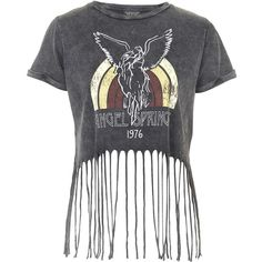 TOPSHOP Angel Springs Fringe Tee (140 RON) ❤ liked on Polyvore