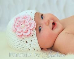 Baby Girl Hat Newborn Girl Hat with Flower by MeToYouCrochet
