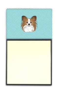 Checkerboard Blue Papillon Refiillable Sticky Note Holder or Postit Note Dispenser BB1186SN