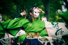Find images and videos about Japan, tradition and dancing on We Heart It - the app to get lost in what you love. Mask Japanese, Japanese Kimono, Japanese Gangster, Geisha, Armadura Cosplay, Harajuku, Human Poses Reference, Japanese Festival, Festivals Around The World