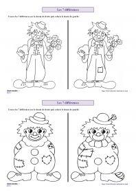Les 7 différences de carnaval 6 fiches avec des personnages de carnaval (clown…