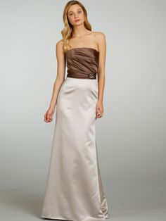 jim hjelm occasions bridesmaid strapless satin a-line gown draped bodice band crystal applique natural 5306