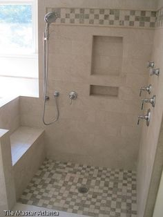 Master bathroom shower...loving the seat, need more space for products!